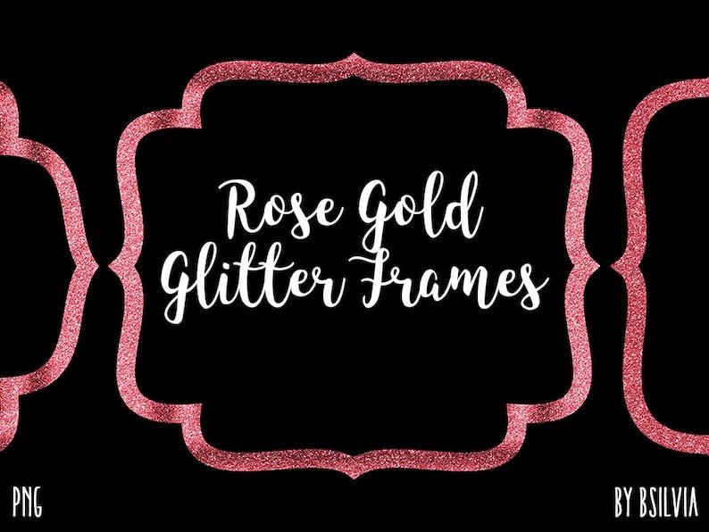 Rose Gold Glitter Frame Clipart Rose Gold Glitter Border image 0