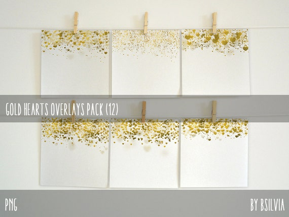 Gold Hearts Overlays, Digital Gold Hearts Overlays Pack (12), Gold Foil Hearts, Metallic Hearts Photo Overlays, Commercial Use