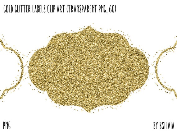 Gold Glitter Confetti Labels Clipart, Transparent PNG, Gold Glitter Design Elements, Digital Scrapbooking Overlay Clip Art, Commercial Use