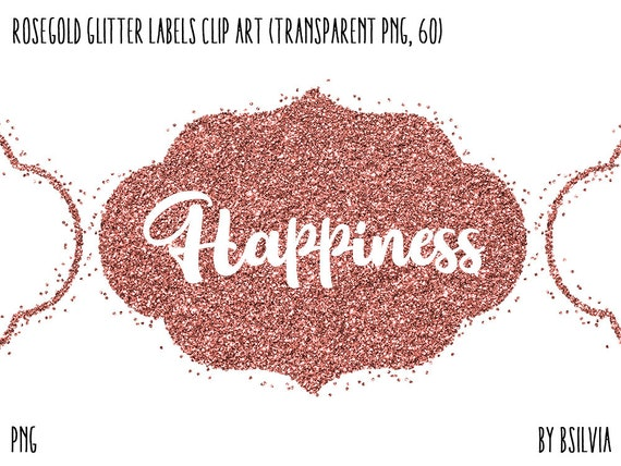 Rosegold Glitter Confetti Labels Clipart, Transparent PNG, 60 Rosegold Glitter Design Elements, Rosegold Overlay Clip Art, Commercial Use
