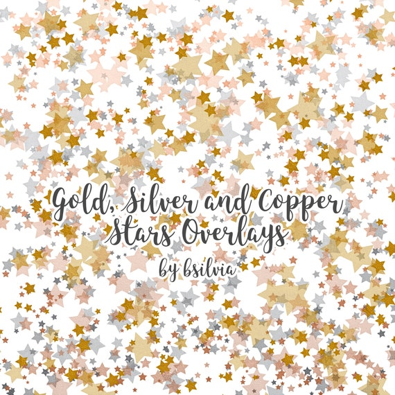 Gold, Silver and Copper Stars Overlays, Digital Overlays Pack (12), Gold Stars, Silver Stars, Copper Stars, Metallic Stars Photo Overlays
