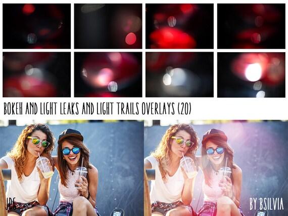 Bokeh and Light Leaks, Light Trails Overlays, Digital Bokeh Effect, Bokeh Photo Overlay, Light Leaks Photo Layer, Digital Backdrop
