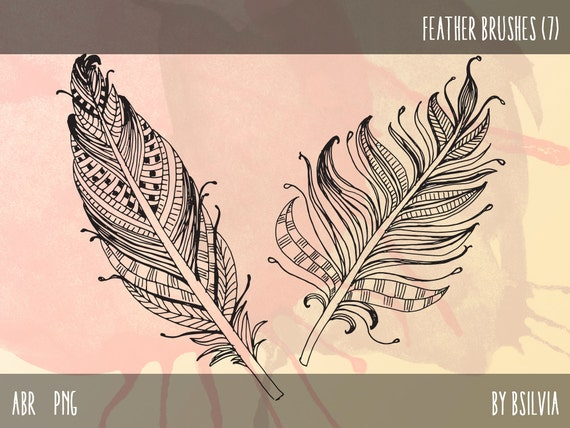 Clip art set - Feathers, Photoshop brushes and transparent PNG digital stamps, Digital stamps for Commercial use