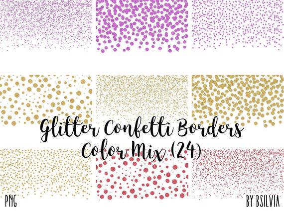 Glitter Confetti Borders Pack, Silver Glitter Confetti PNG, Glitter Borders, Rose Gold Confetti Borders, Gold Confetti Borders, Pink Glitter