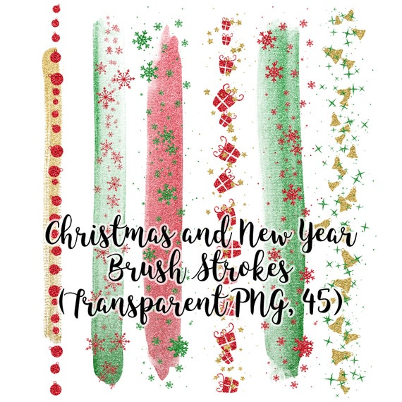 Christmas and New Year Brush Strokes, Green Glitter Brush Strokes, Red Glitter Strokes, Gold Glitter Snowflakes, Clip Art Brush Strokes