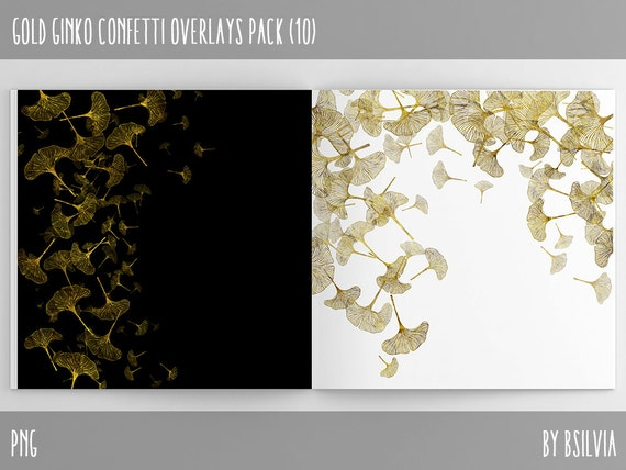 Gold Ginkgo Confetti Overlays, Digital Gold Confetti Photo Overlays set of 10, Gold Ginkgo Confetti Background, Gold Confetti Overlays