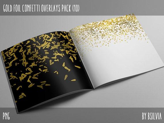 Gold Confetti Overlays, Digital Gold Confetti Photo Overlays set of 10, Gold Stars Confetti, Gold Feathers Confetti, Gold Shells Confetti
