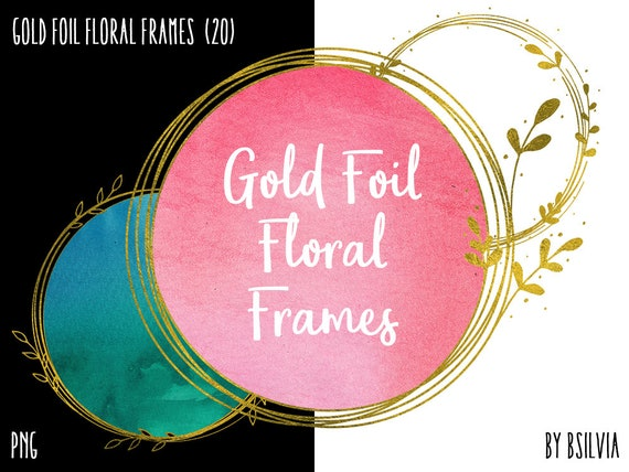 Gold Foil Floral Frame Clipart, Gold Border Clipart, Digital Gold Floral Clip Art, Gold Foil Banner, Digital Scrapbooking Gold Photo Frames