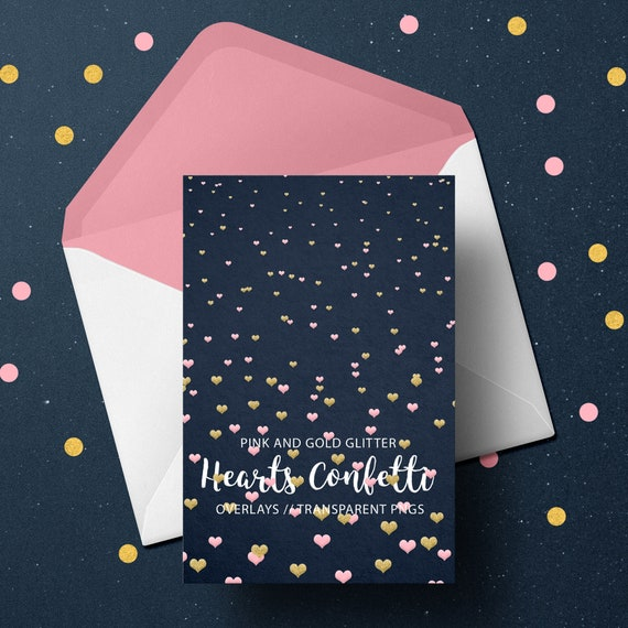 Pink and Gold Glitter Hearts Confetti Overlays, Gold Confetti Transparent PNG files, Pink Confetti Overlays, Hearts Confetti Photo Overlays