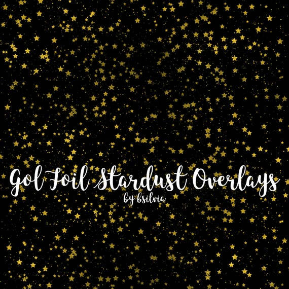 Gold Foil Stardust Clip Art, Gold Stars Transparent PNG files, Gold Foil Stars Overlays, Magic Dust, Stars Clip Art, 8.5x11, Commercial Use