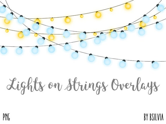 Lights on Strings Clip Art Overlays, Transparent PNG files, Garden Lights Clip Art, Garden Lights Photo Overlays set of 14, Commercial Use