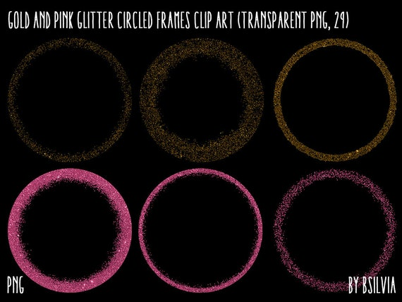 Gold and Pink Glitter Circled Frames Clipart, Gold Glitter Design Elements, Pink Glitter Digital Frames, Frames Clip Art, Transparent PNG