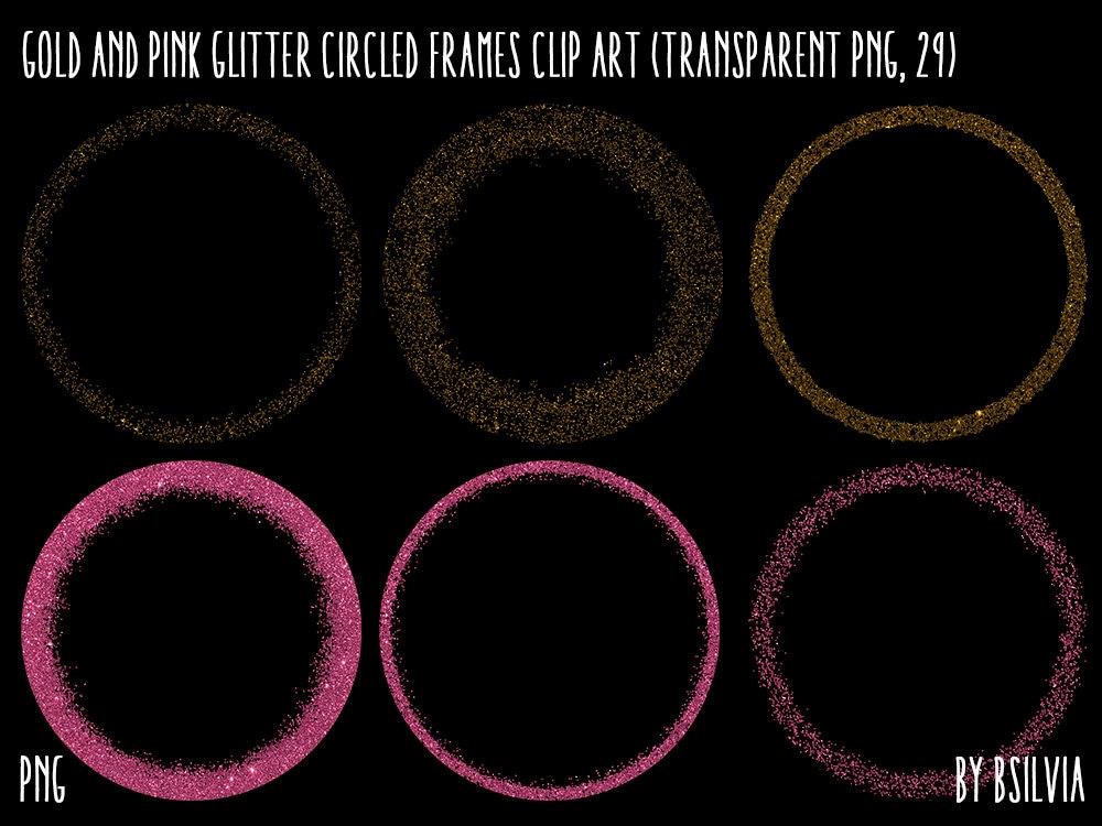 Gold und rosa Glitter eingekreist Rahmen Clipart Gold-Glitter   Etsy