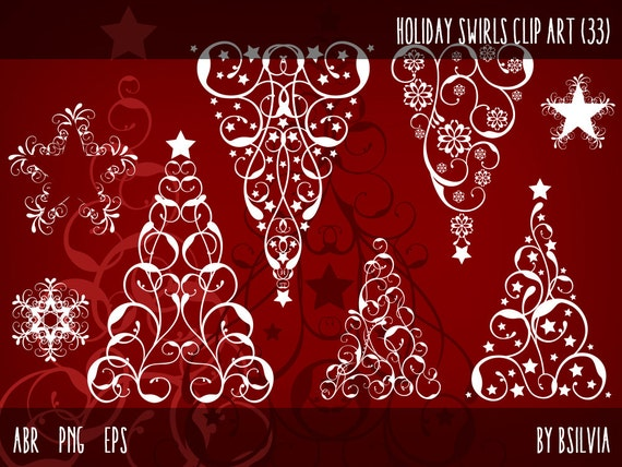 Holiday Swirls Clip Art Pack - Snowflakes, Stars, Christmas Trees. Photoshop Brushes, transparent PNG files, vector files (EPS)