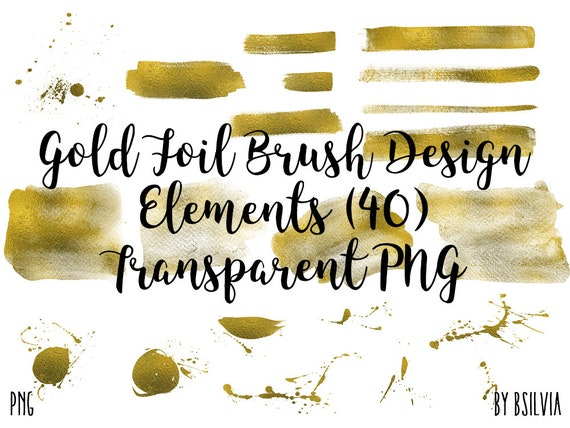 Gold Foil Brush Design Elements, Transparent PNG, Gold Brush Clip Art, Brush Strokes Transparent Clipart, Gold Hand Painted Brush Clipart