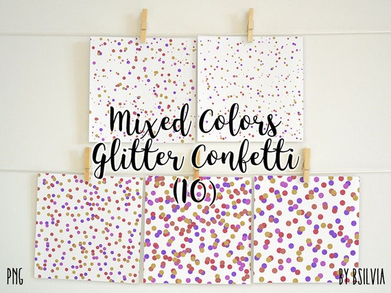Mixed Colors Glitter Confetti Overlays, Glitter Confetti Transparent PNG, Glitter Confetti Clip Art, Digital Confetti Photo Overlays Set