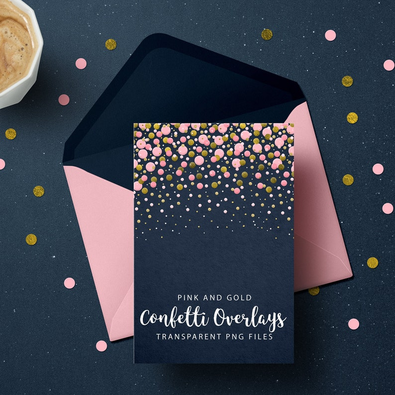 Pink and Gold Confetti Overlays Gold Confetti Transparent PNG image 0