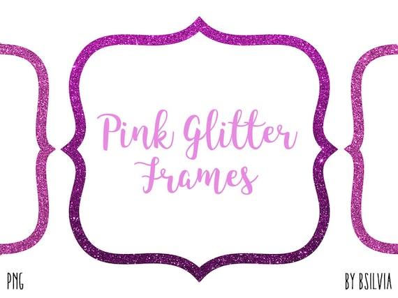 Pink Glitter Frame Clipart, Pink Glitter Border Clipart, Digital Pink Label Clip Art, Glitter Banner, Digital Scrapbooking Pink Frames