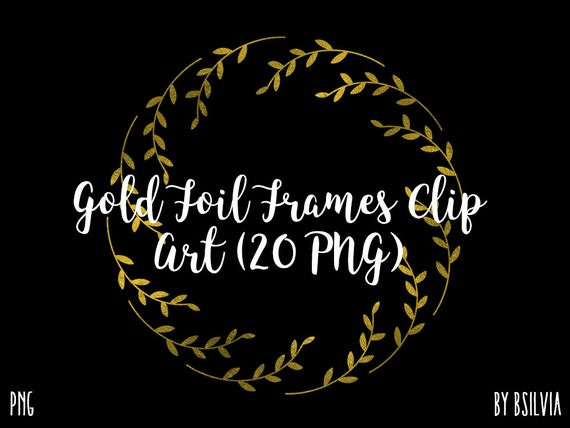 Gold Frame Clipart, Gold Foil Circle Frames Clipart, Digital Gold Clip Art, Gold Round Frames PNG, Scrapbooking Gold Frames Commerical Use