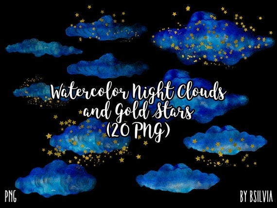 Watercolor Night Clouds and Gold Stars Clipart, Transparent PNG, Gold Stars Clip Art, Watercolor Clouds Transparent Clipart, Commercial Use