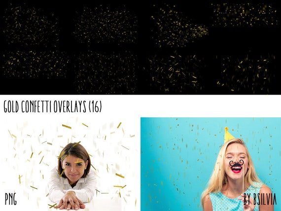 Gold Confetti Overlays, Gold Foil Confetti Photoshop Overlays, Gold Overlays, Photo Layer, Gold Falling Confetti, Digital Backdrop
