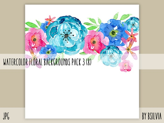 Watercolor Floral Backgrounds with Text Space, Watercolor Flowers Backgrounds Pack 3, 12x12 Digital Scrapbooking Floral Watercolor Papers