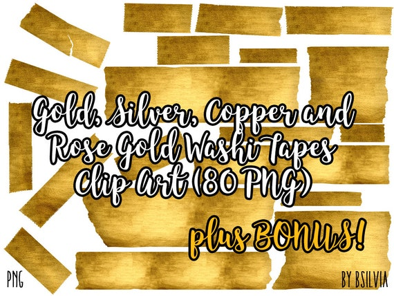 Gold, Silver, Copper and Rose Gold Washi Tapes Clipart, Transparent PNG, Digital Scrapbooking Glitter Clip Art, Washi Tape Design Elements