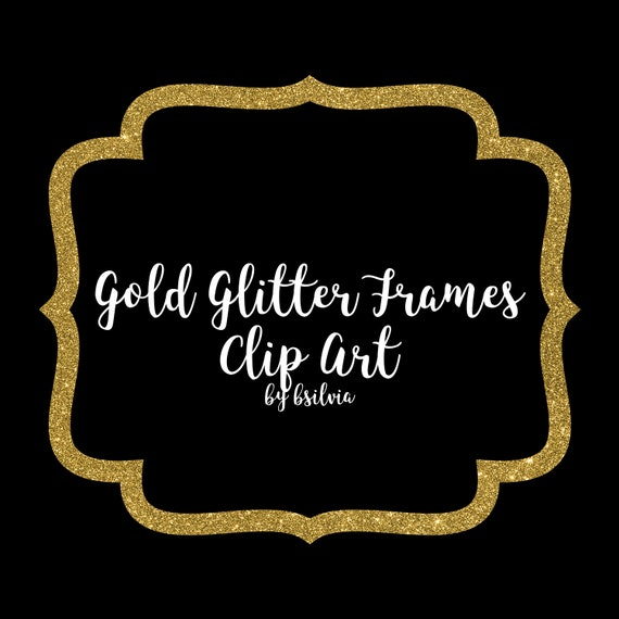 Gold Glitter Frame Clipart, Gold Glitter Border Clipart, Digital Gold Label Clip Art, Glitter Banner, Digital Scrapbooking Gold Frames