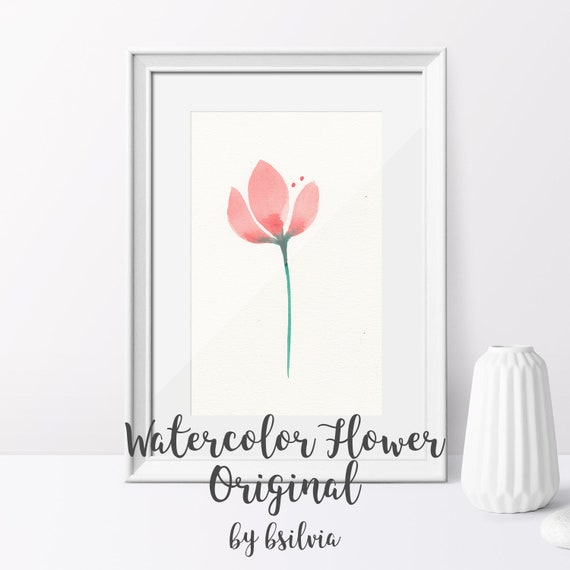 Watercolor Flower, Original Watercolor Flower Painting, Flower Watercolor Art, Unframed Watercolor Minimalist Painting
