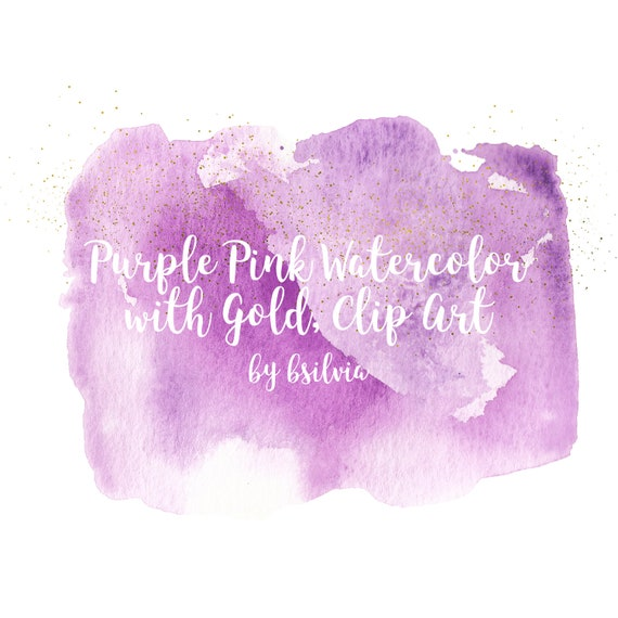 Pink Purple Watercolor and Gold Clip Art, Transparent PNG, Watercolor Transparent Clip Art, Watercolor Clip Art, Commercial Use