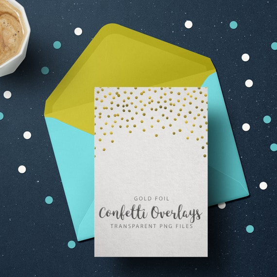 Gold Confetti Overlays, Gold Foil Confetti Transparent PNG files, Gold Confetti Clip Art, Digital Gold Confetti Photo Overlays set of 10