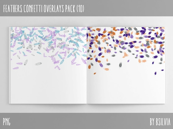 Feathers Confetti Overlays, Digital Feathers Confetti Photo Overlays set of 10, Feathers Confetti Background, Feathers Overlays