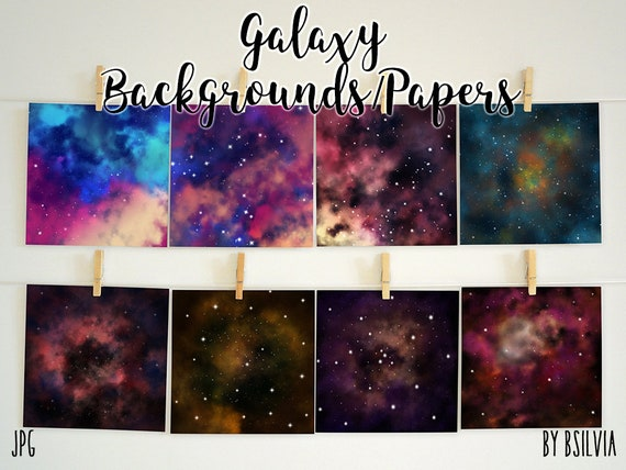 Galaxy Backgrounds, Galaxy Digital Papers 12x12 inches, Space Paper, Space Background, Stars Paper, Stars Background, Commercial Use