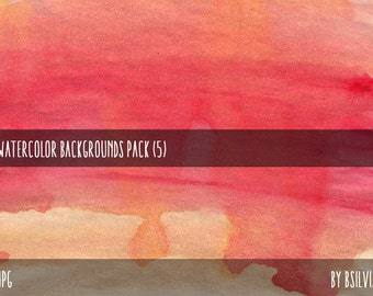 Watercolor Digital Background Paper, Watercolor Background, Digital Scrapbooking Paper Pack
