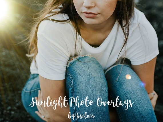 50 Sunlight Photo Overlays, Sun Flares, Light Rays, Lens Flares, Sunlight Light Effects, Photoshop Overlay, Commercial Use