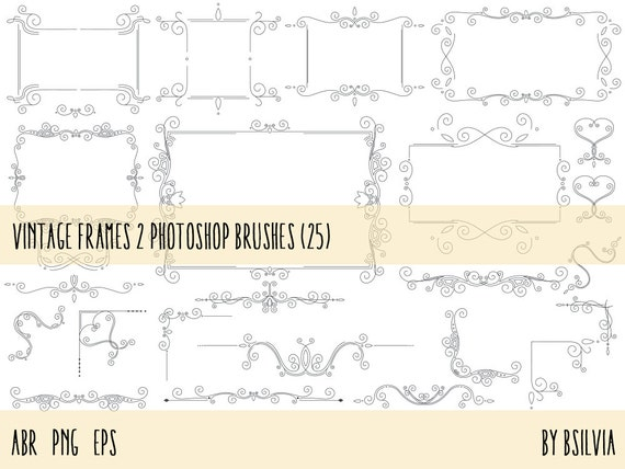 Vintage Frames Photoshop brushes pack 2, Vintage Frames Vector files (EPS) and PNG transparent files, Retro Design Elements, Commercial Use
