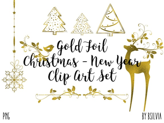 Gold Foil Christmas Clip art, Gold Transparent PNG, Gold Foil Clip Art Christmas Tree, Gold New Year Clip Art, Scrapbook Embellishment