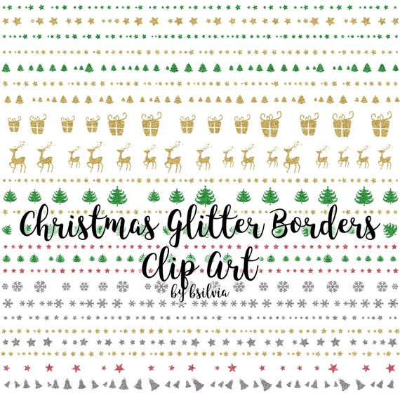 Christmas Glitter Borders Clip Art Pack, Digital Glitter Christmas Borders, Glitter Borders, Holidays Glitter Borders Clip Art