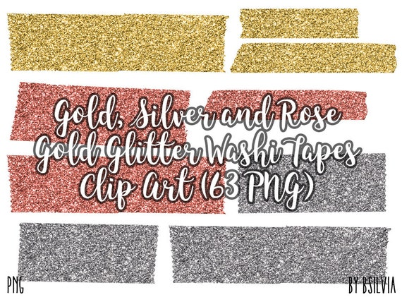 Gold, Silver, Rose Gold Glitter Washi Tapes Clipart, Transparent PNG, Digital Scrapbooking Glitter Clip Art, Glitter Design Elements