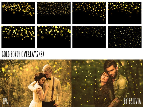 Gold Bokeh Overlays, Gold Bokeh Photoshop Overlays, Yellow Bokeh Overlays, Digital Bokeh Effect, Photo Layer, Digital Backdrop