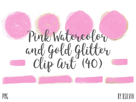 Pink Watercolor and Gold Glitter Clip Art, Transparent PNG, Watercolor Transparent Clip Art, Gold Glitter Clip Art, Commercial Use