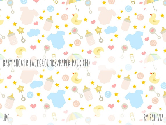 Baby Shower Digital Paper Pack, Baby Shower Seamless Pattern Scrapbooking Paper Pack, 12x12 Digital Scrapbooking Papers, Instant Download