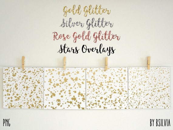 Gold Glitter Stars Confetti Overlays, Silver Glitter Stars Photo Overlays, Rose Gold Stars Confetti Background, Glitter Stars Overlays