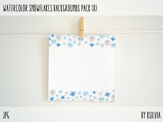 Watercolor Snowflakes Borders Pack, Watercolor Snowflakes Backgrounds, Commercial Use