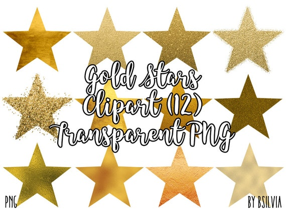 Gold Stars Clipart, Sparkly Glitter Gold Stars Transparent PNG, Gold Foil Clip Art Stars, PNG Gold Stars, Digital Clipart, Commercial Use