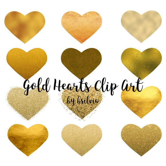 Gold Hearts Clip Art, Gold Foil Clip Art Hearts, PNG Gold Hearts, Glitter Gold Hearts Transparent PNG, Digital Clipart, Commercial Use