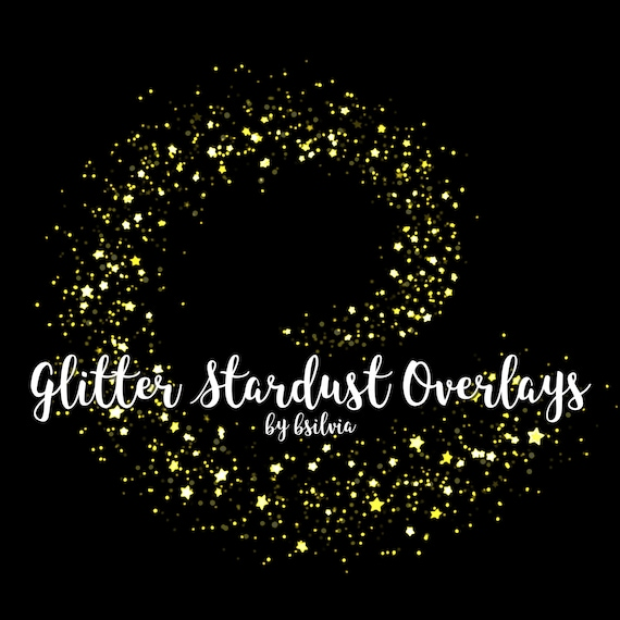 Stardust Glitter Overlays, Yellow Glitter Stardust Overlays, Gold Glitter Bokeh Overlays, Glitter Photo Overlays, Glitter Photoshop Overlays