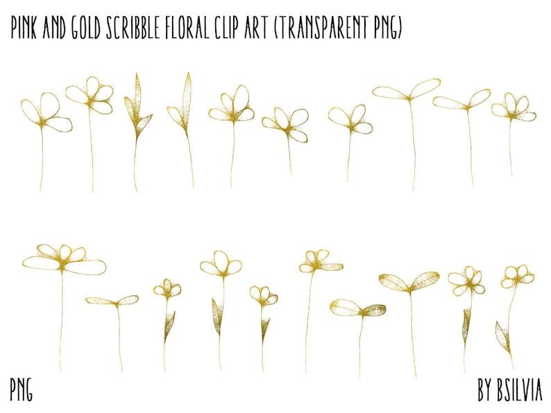 Scribbled Flowers Clip Art Floral Transparent PNG Pink and Gold Scribble Floral Clip Art Pink Floral Clip Art Gold Foil Floral Clip Art