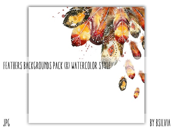 Feathers Backgrounds with Text Space, Watercolor Style. Watercolor Feathers Backgrounds Pack, Watercolor Papers for Digital Scrapbooking