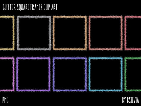 Glitter Square Frames Clipart, Transparent PNG, Gold Glitter Design Elements, Digital Scrapbooking Overlay Clip Art, Commercial Use